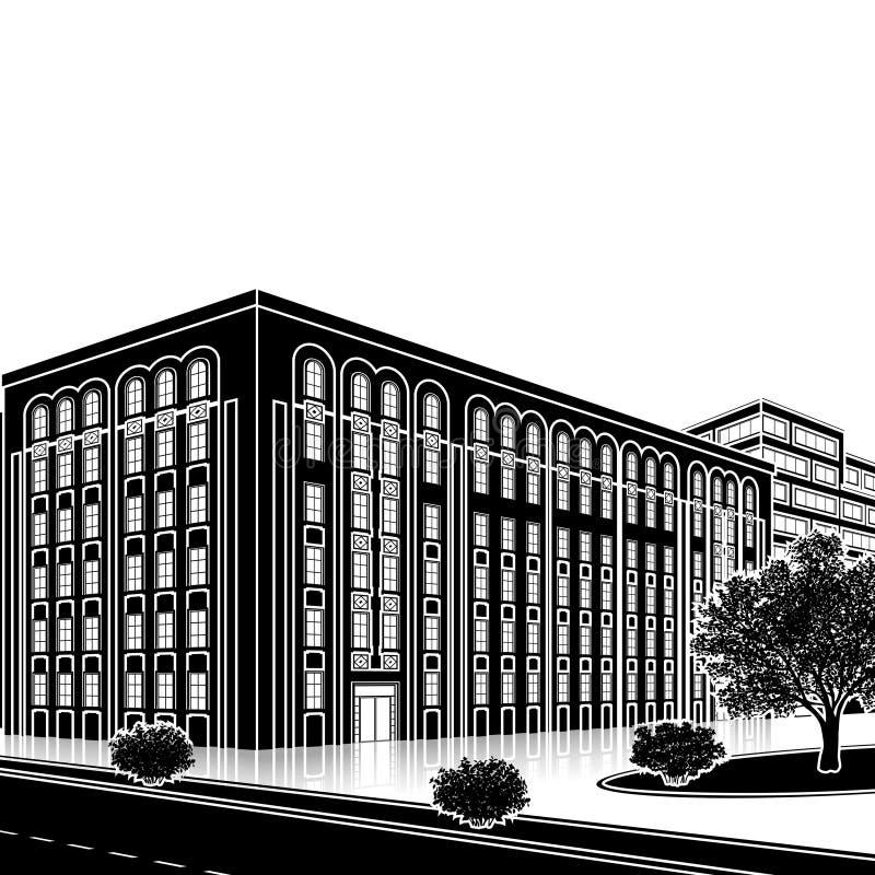 Siluetee el edificio de oficinas con una entrada y una reflexión ilustración del vector