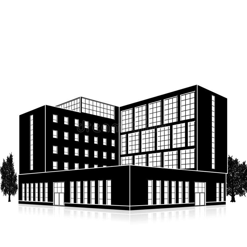 Siluetee el edificio de oficinas con una entrada y una reflexi?n ilustración del vector