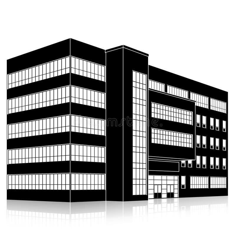 Siluetee el edificio de oficinas con una entrada y una reflexi?n stock de ilustración