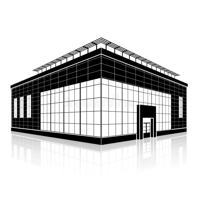 Siluetee el edificio de oficinas con una entrada y una reflexión stock de ilustración