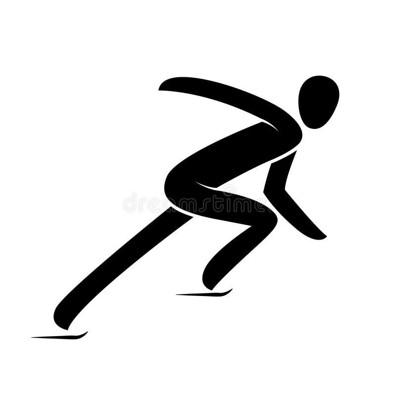 Siluetee el ejemplo aislado atleta corto del vector del patinaje de velocidad de la pista stock de ilustración