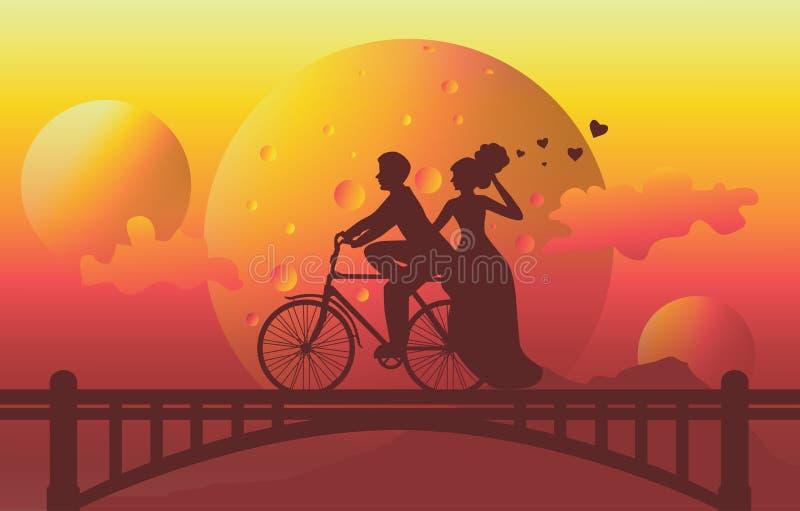 siluetee el ejemplo de la bicicleta romántica del montar a caballo de los pares en el puente ilustración del vector