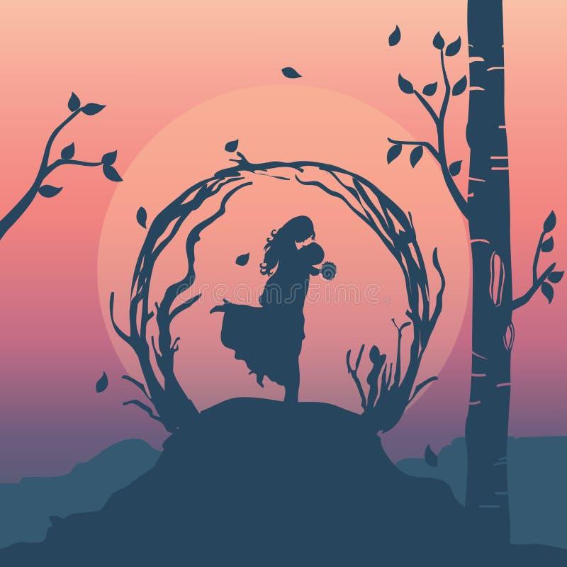 siluetee el ejemplo de los pares románticos, hombre que lleva a su novia en el cielo ilustración del vector