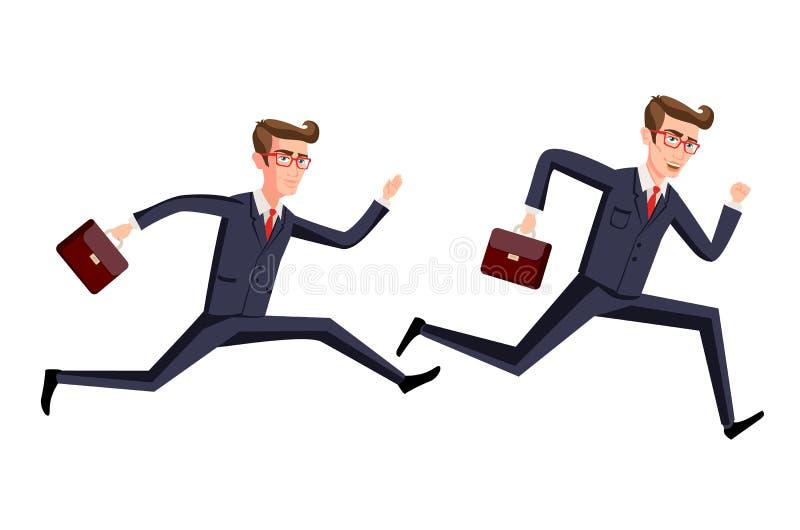 Siluetee el ejemplo de un hombre de negocios que corre con la cartera, negocio, arte enérgico, dinámico del concepto stock de ilustración