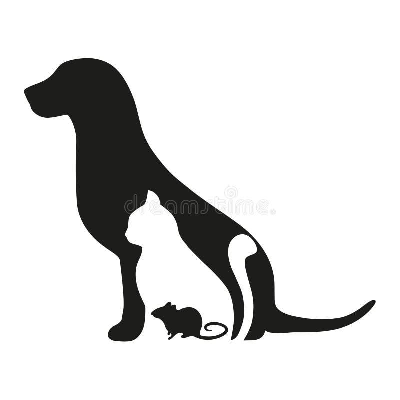 Siluetee el gato y el ratón del perro en el fondo blanco emblema de la veterinaría Animales domésticos caseros stock de ilustración