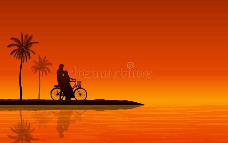 Siluetee el hombre y a la mujer de los pares que caminan así como la bicicleta en la playa bajo fondo del cielo de la puesta del  libre illustration