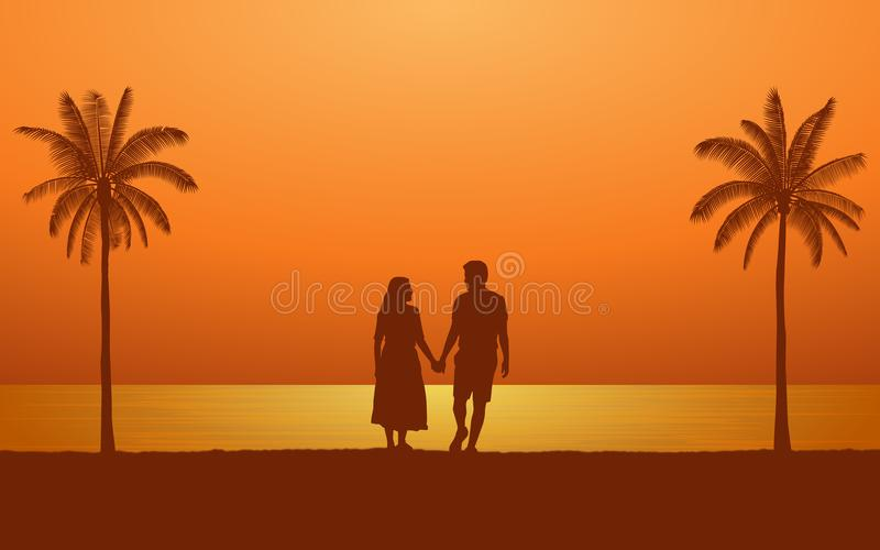 Siluetee el hombre y a la mujer de los pares que llevan a cabo la mano que camina junto en la playa bajo fondo del cielo de la pu libre illustration