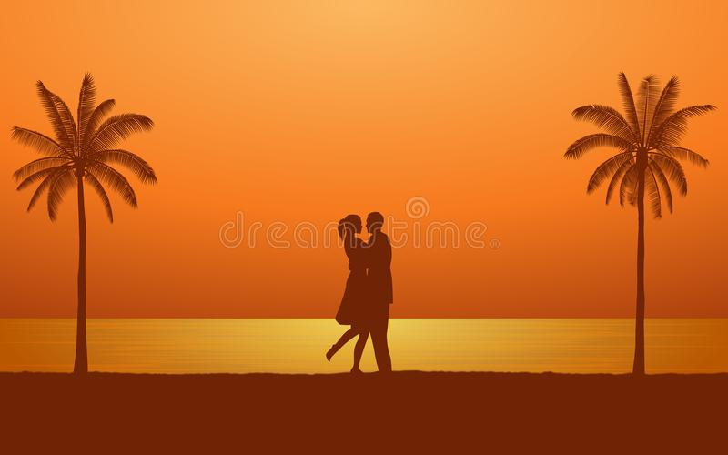 Siluetee el hombre y a la mujer de los pares que se besan mientras que abraza en la playa bajo fondo del cielo de la puesta del s stock de ilustración