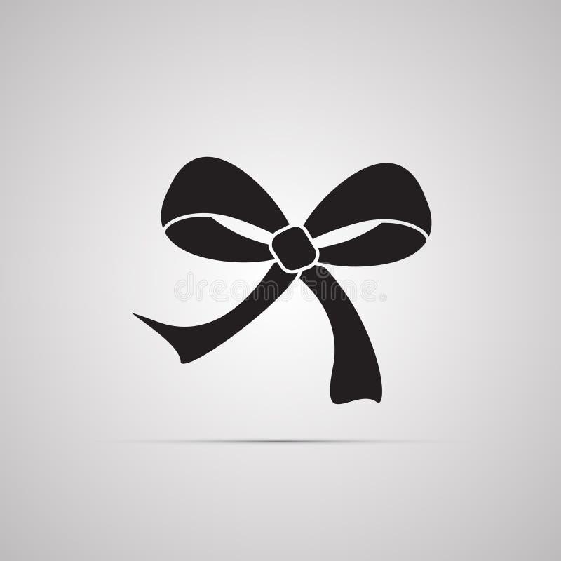 Siluetee el icono plano, diseño simple del vector con la sombra Arco con los extremos de la cinta para el presente libre illustration