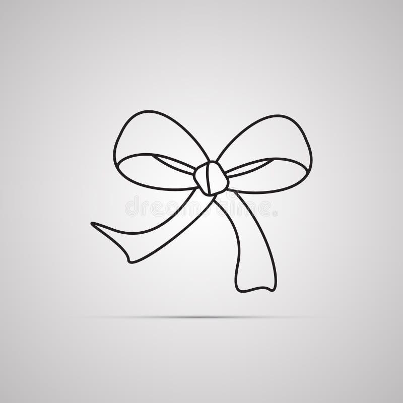 Siluetee el icono plano, diseño simple del vector con la sombra Arco con los extremos de la cinta para el presente stock de ilustración
