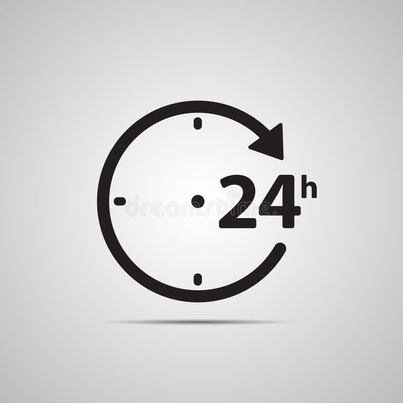 Siluetee el icono plano, diseño simple del vector con la sombra Mire la cara con la flecha y el símbolo 24 horas ilustración del vector