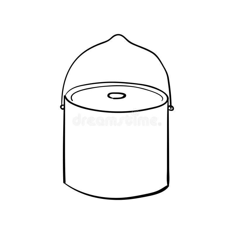 Siluetee el icono plano, dise?o simple del vector con la sombra estilo del bosquejo de la caldera del campo ilustración del vector