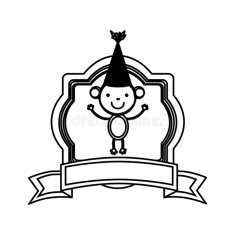 siluetee el marco heráldico con el animal y la cinta lindos del mono ilustración del vector