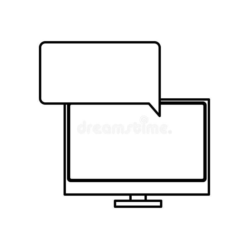 siluetee el ordenador de la pantalla de la tecnología en caja plana ancha del reclamo del diálogo libre illustration