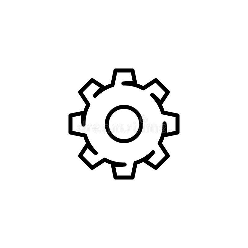 Siluetee el vector del icono del engranaje del ajuste en el estilo plano moderno del esquema para el web ilustración del vector