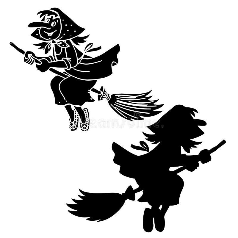 Siluetee el yaga de la abuela de la bruja, Halloween en un backgrou blanco stock de ilustración