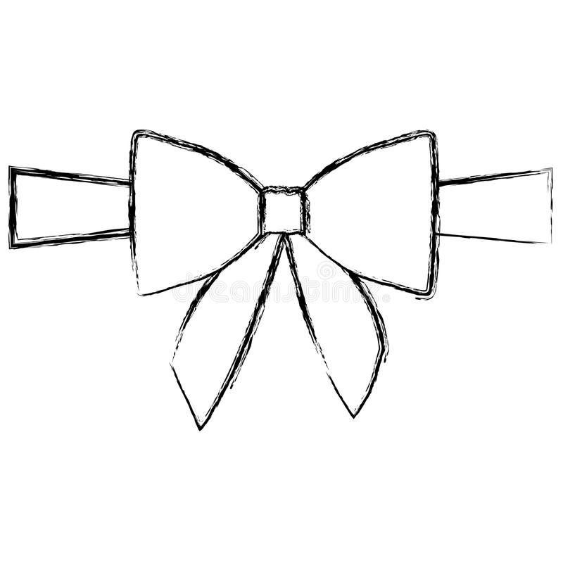 siluetee la cinta borrosa del centro del satén y arquee el embalaje stock de ilustración