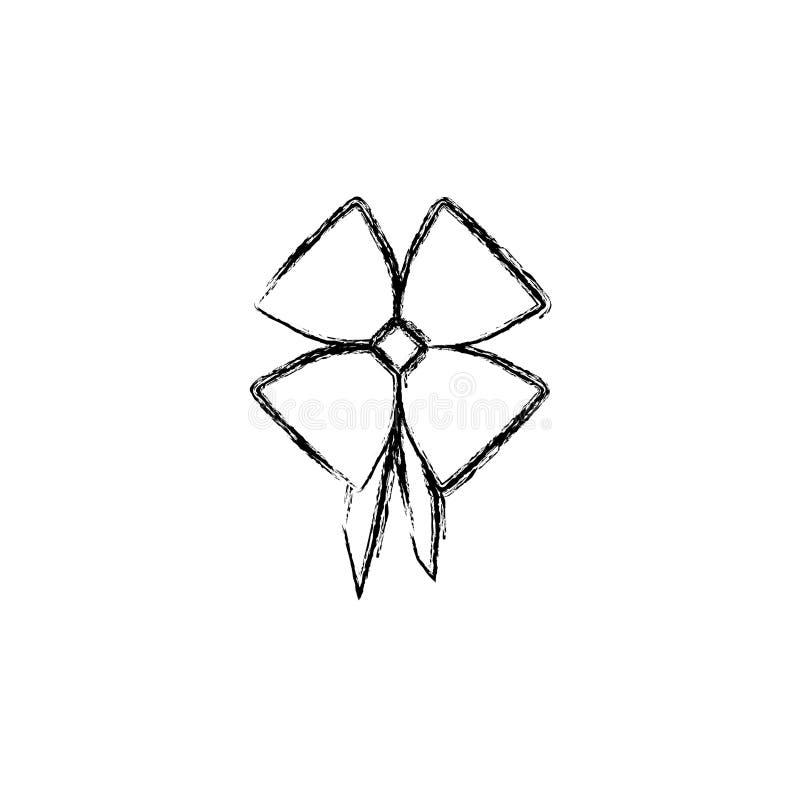 siluetee la cinta brillante borrosa del satén con la tenencia de la cinta stock de ilustración