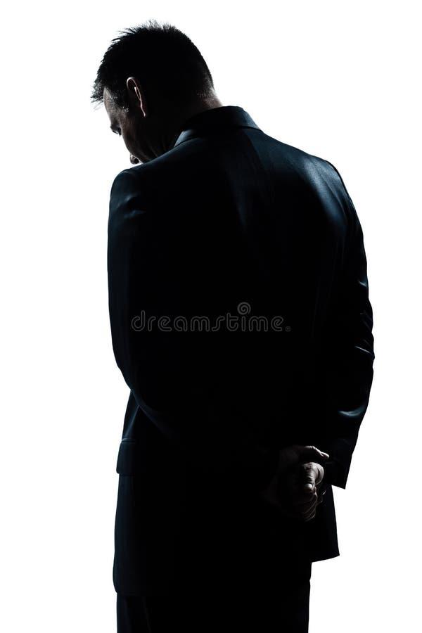 Siluetee la desesperación triste del retrato del hombre sola imagen de archivo libre de regalías
