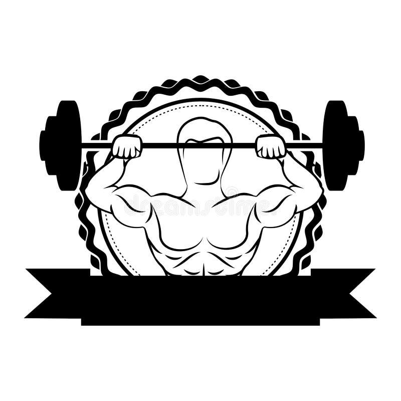 siluetee la frontera de la etiqueta engomada con el hombre del músculo los pesos de elevación y etiqueta de un disco ilustración del vector