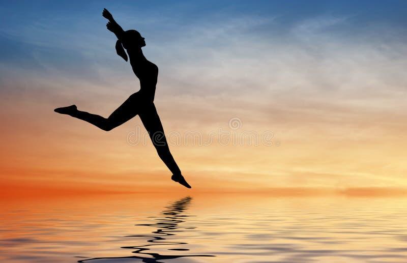 Siluetee a la muchacha del salto en el agua imagen de archivo
