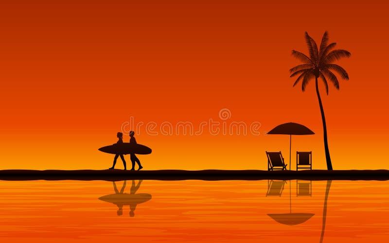 Siluetee la tabla hawaiana que lleva de la persona que practica surf de los pares en la playa y la reflexión bajo fondo del cielo stock de ilustración