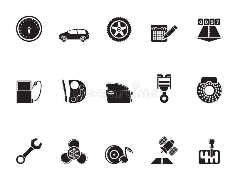 Siluetee las piezas del coche, los servicios y los iconos de las características ilustración del vector