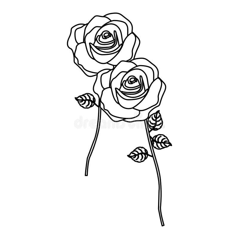 siluetee las rosas con diseño floral del tronco y de las hojas libre illustration