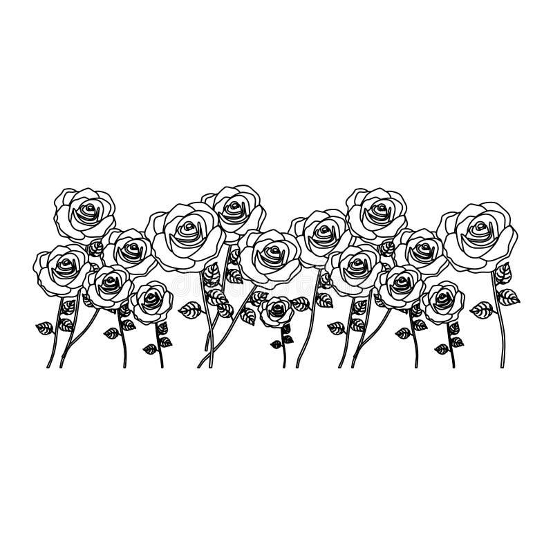 siluetee las rosas del manojo con diseño floral del tronco y de las hojas ilustración del vector