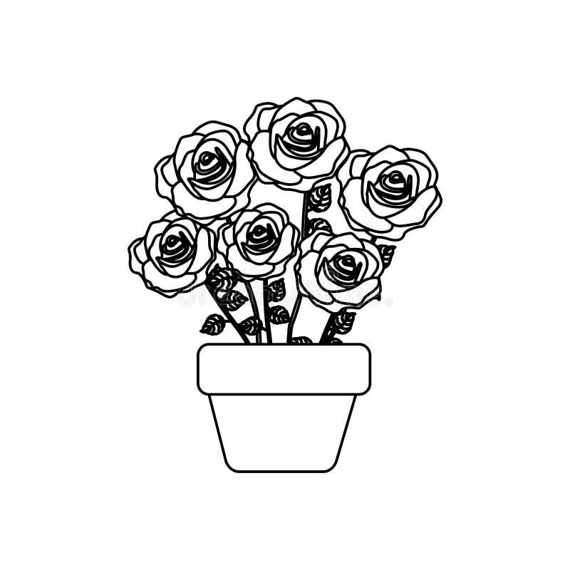 siluetee las rosas en pote con diseño floral del tronco y de las hojas stock de ilustración