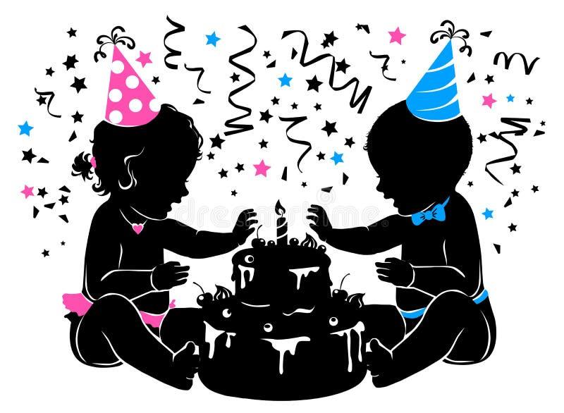 Siluetee a los gemelos de la muchacha del bebé con la torta de cumpleaños con la vela stock de ilustración
