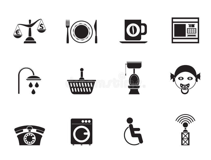 Siluetee los iconos de los servicios del borde de la carretera, del hotel y del motel libre illustration