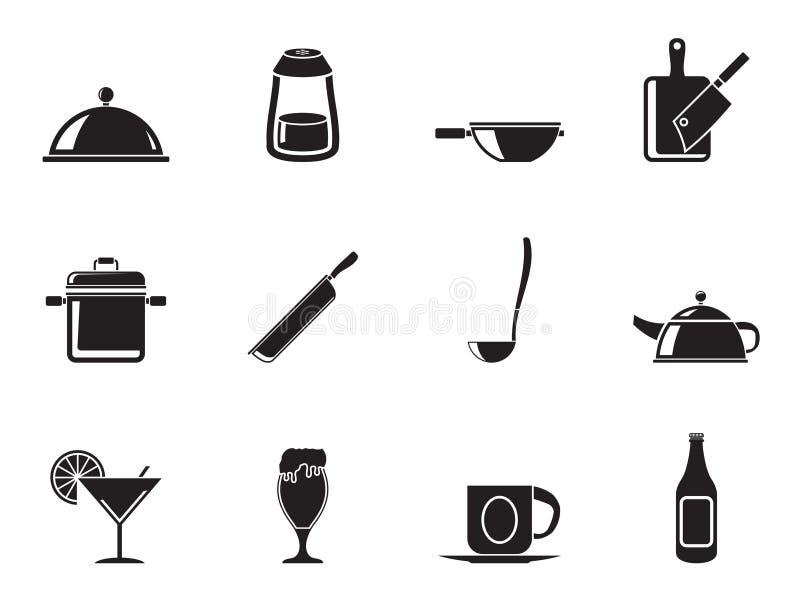 Siluetee los iconos del restaurante, del café, de la comida y de la bebida stock de ilustración
