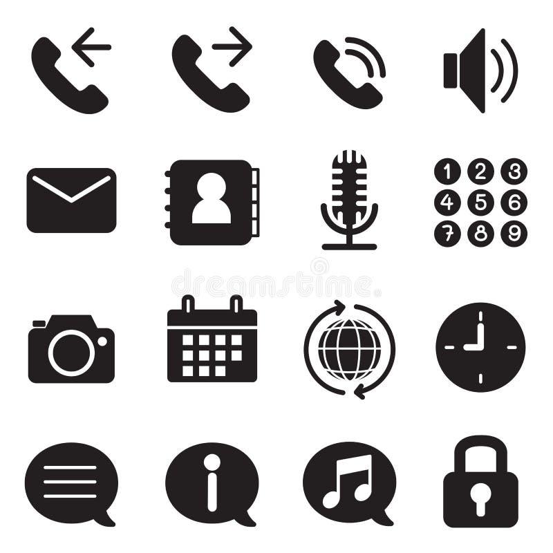 Siluetee los iconos del uso del teléfono móvil y del smartphone fijados stock de ilustración