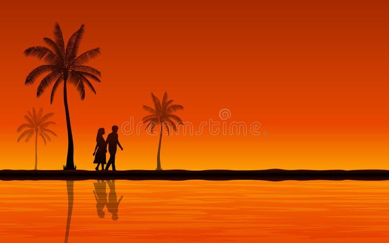 Siluetee los pares que caminan en la playa y la reflexión en diseño plano del icono bajo fondo del cielo de la puesta del sol ilustración del vector