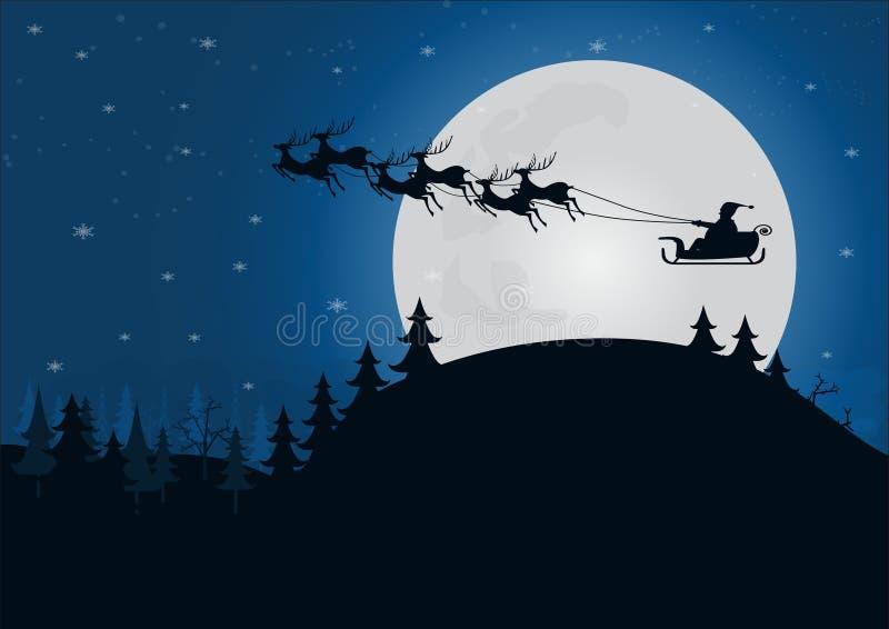 siluetee a Papá Noel con el trineo del reno sobre la colina con libre illustration