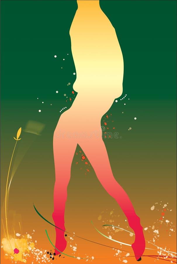 Siluett 'sexy' da menina de encontro ao fundo cor-de-rosa ilustração do vetor