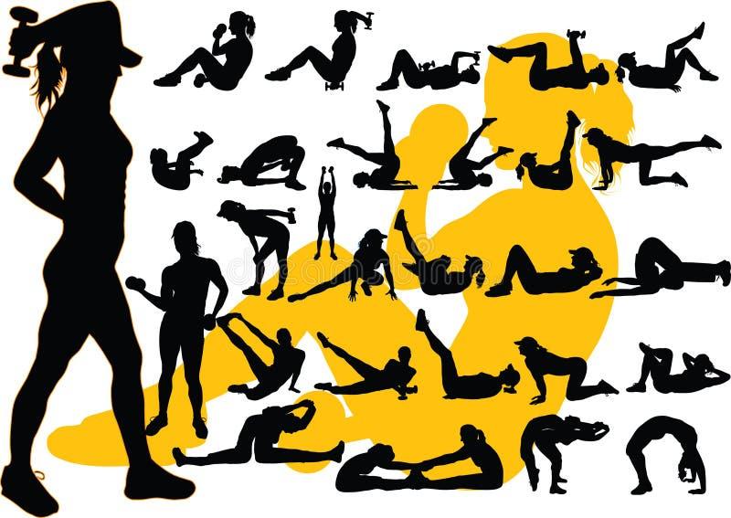 Siluetta aerobica illustrazione di stock