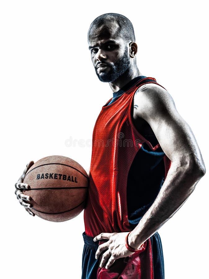 Siluetta africana del giocatore di pallacanestro dell'uomo fotografia stock libera da diritti