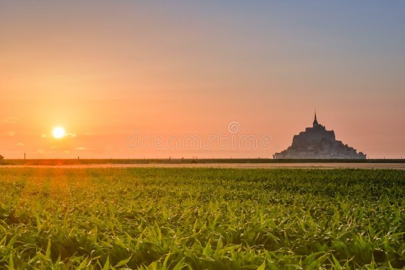 Siluetta al tramonto dal terreno coltivabile di Mont Saint Michel, Francia fotografia stock libera da diritti