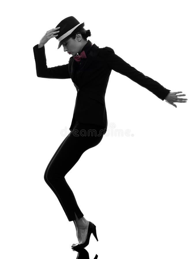 Siluetta alla moda di dancing del ballerino della donna fotografie stock libere da diritti