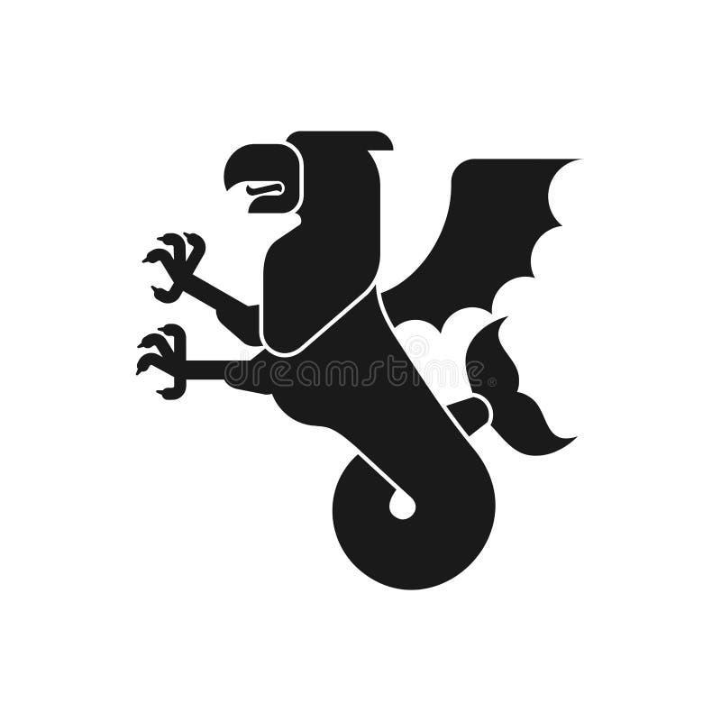 Siluetta animale araldica del grifone del mare Grifone con la coda di pesce f royalty illustrazione gratis