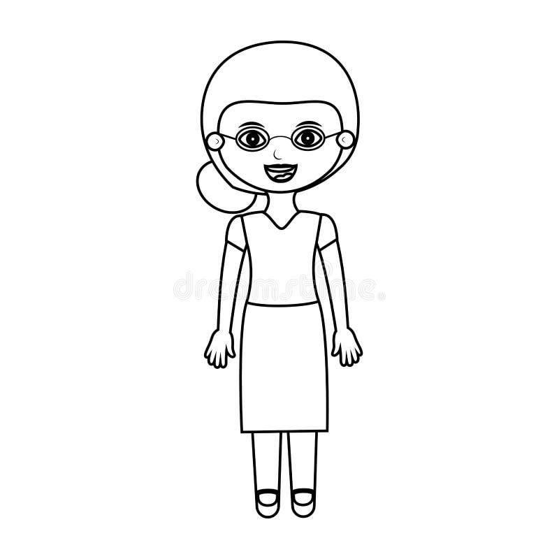 Siluetta anziana della donna vestita con i vetri illustrazione vettoriale