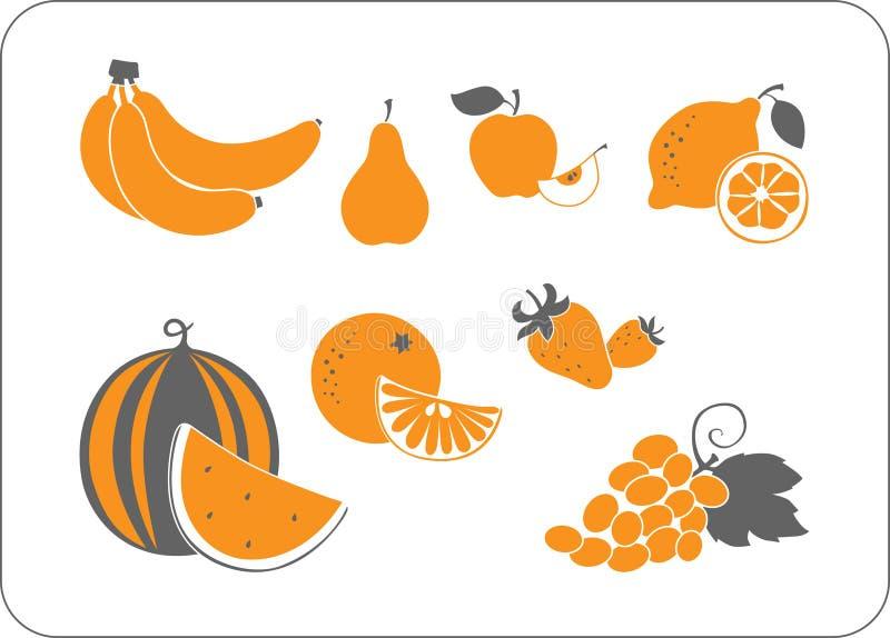 Siluetta arancione-grigia della frutta illustrazione di stock