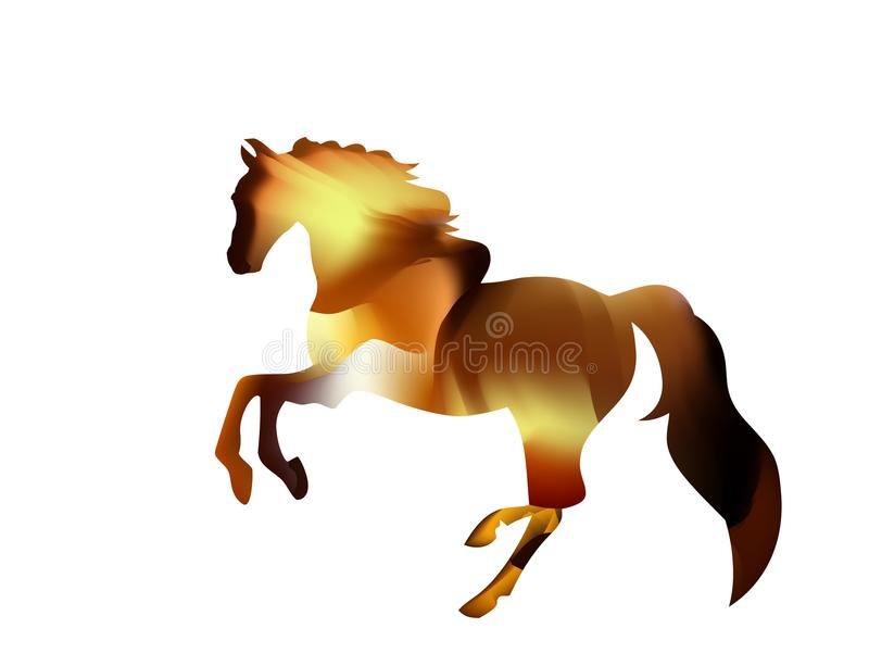 Siluetta ardente di uno stallone arabo funzionamenti rossi del cavallo su fuoco illustrazione vettoriale