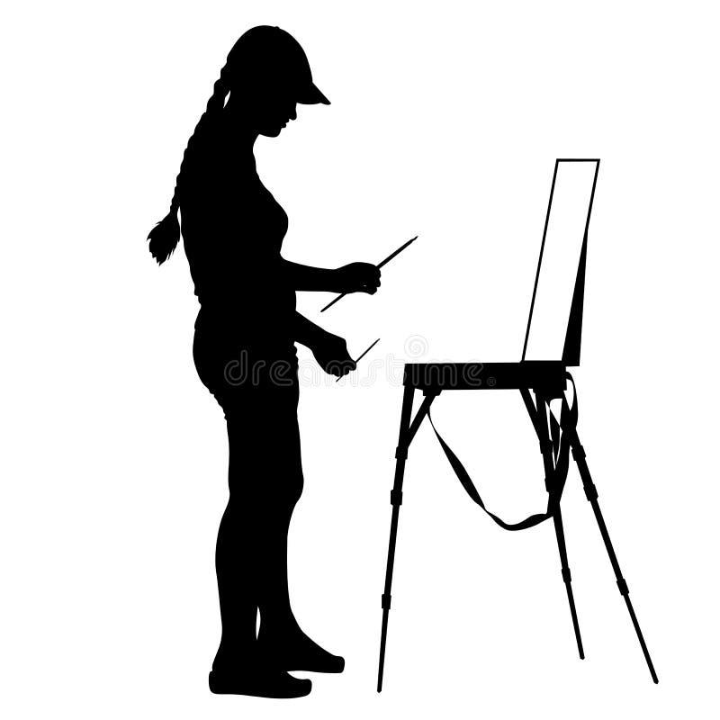 Siluetta, artista sul lavoro su un fondo bianco illustrazione vettoriale
