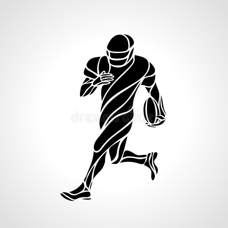 Siluetta astratta del giocatore di football americano illustrazione di stock