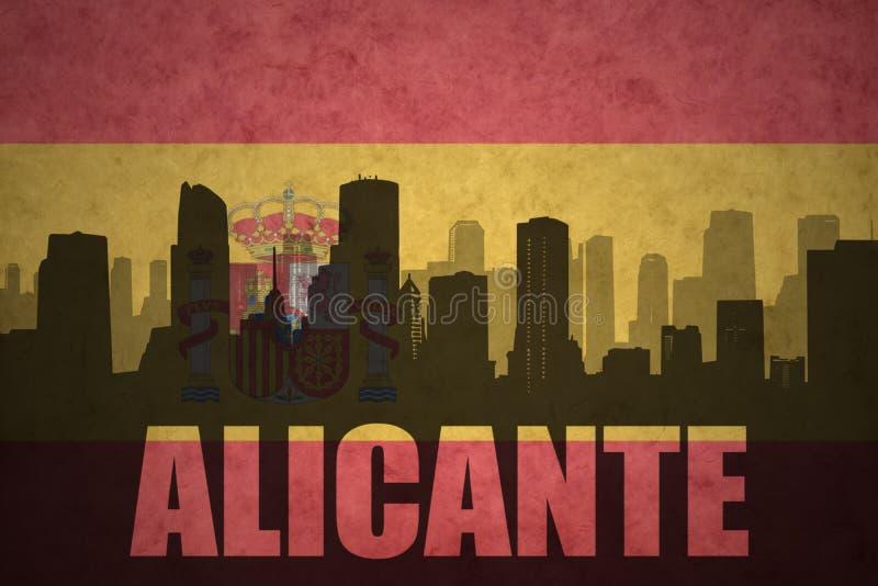 Siluetta astratta della città con testo Alicante alla bandiera d'annata dello Spagnolo illustrazione vettoriale