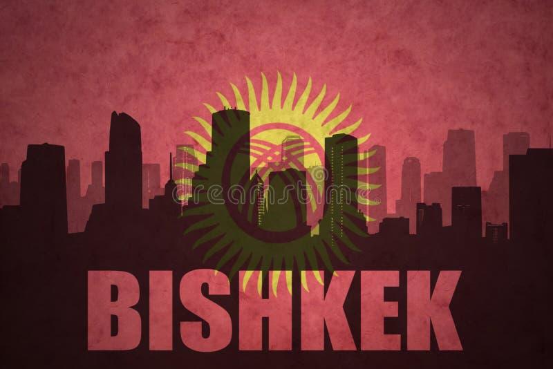 siluetta astratta della città con testo BiÅ¡kek alla bandiera d'annata del Kirghizistan illustrazione vettoriale