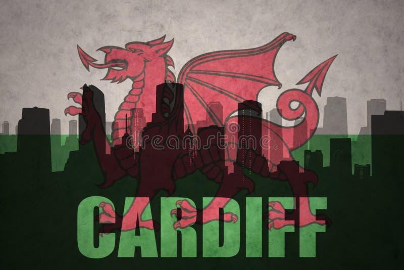 Siluetta astratta della città con testo Cardiff alla bandiera d'annata del Galles royalty illustrazione gratis